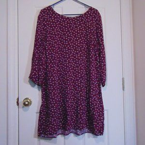 Old Navy Maroon Floral Print Long Sleeve Dress XXL